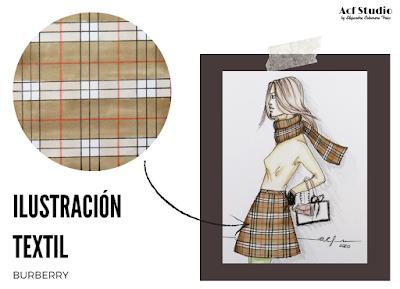 Ilustración textil cuadros Burberry