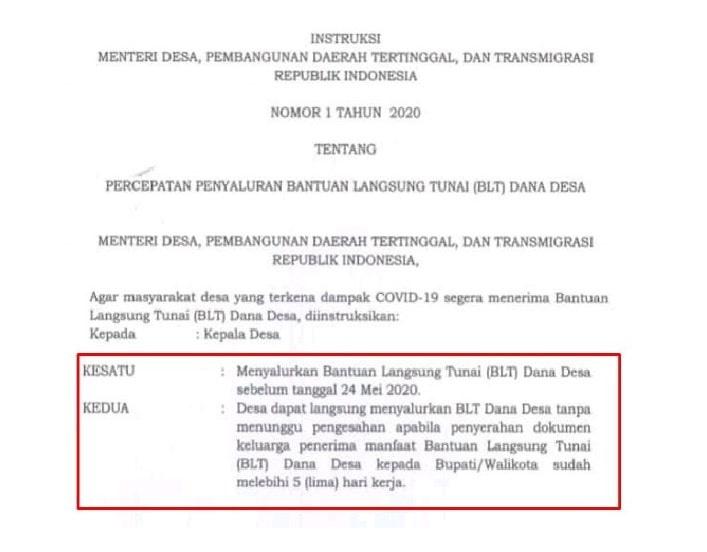 Menteri Desa Pembangunan Daerah Tertinggal dan Transmigrasi mengeluarkan instruksi langsun Sebelum 24 Mei 2020, BLT Dana Desa Harus Disalurkan