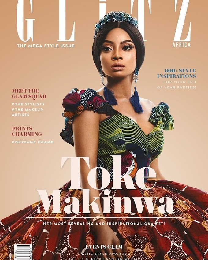 Nigerian radio personality & author Toke Makinwa covers Glitz Africa Magazine's 'The Mega Style Issue'
