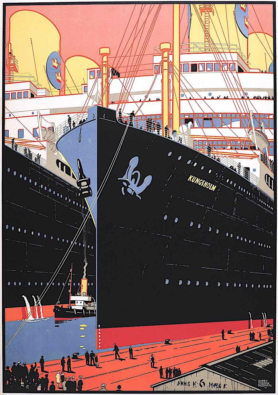 a Harry Hudson Rodmell travel poster illustration of giant ships at dock, Kungsholm