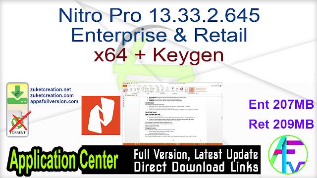 Nitro Pro 13.33.2.645 Enterprise & Retail x64 + Keygen