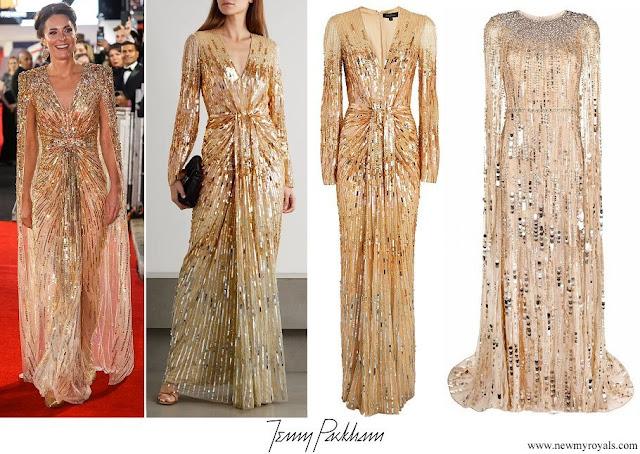 Kate Middleton wore Jenny Packham Bespoke Gold Embellished Cape Gown