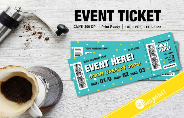 Event Ticket Adobe Illustrator Print ready Template