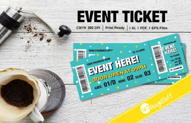 Event Ticket Adobe Illustrator Print ready Template