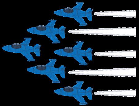 編隊で飛ぶ戦闘機のイラスト(ブルー)