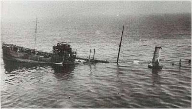 Panamanian tanker Persephone sinking, 25 May 1942 worldwartwo.filminspector.com