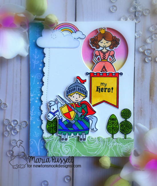Knight and Princess card by Maria Russell | Knight's Quest and Once Upon a Princess Stamp Sets by Newton's Nook Designs #newtonsnook #handmade #knight
