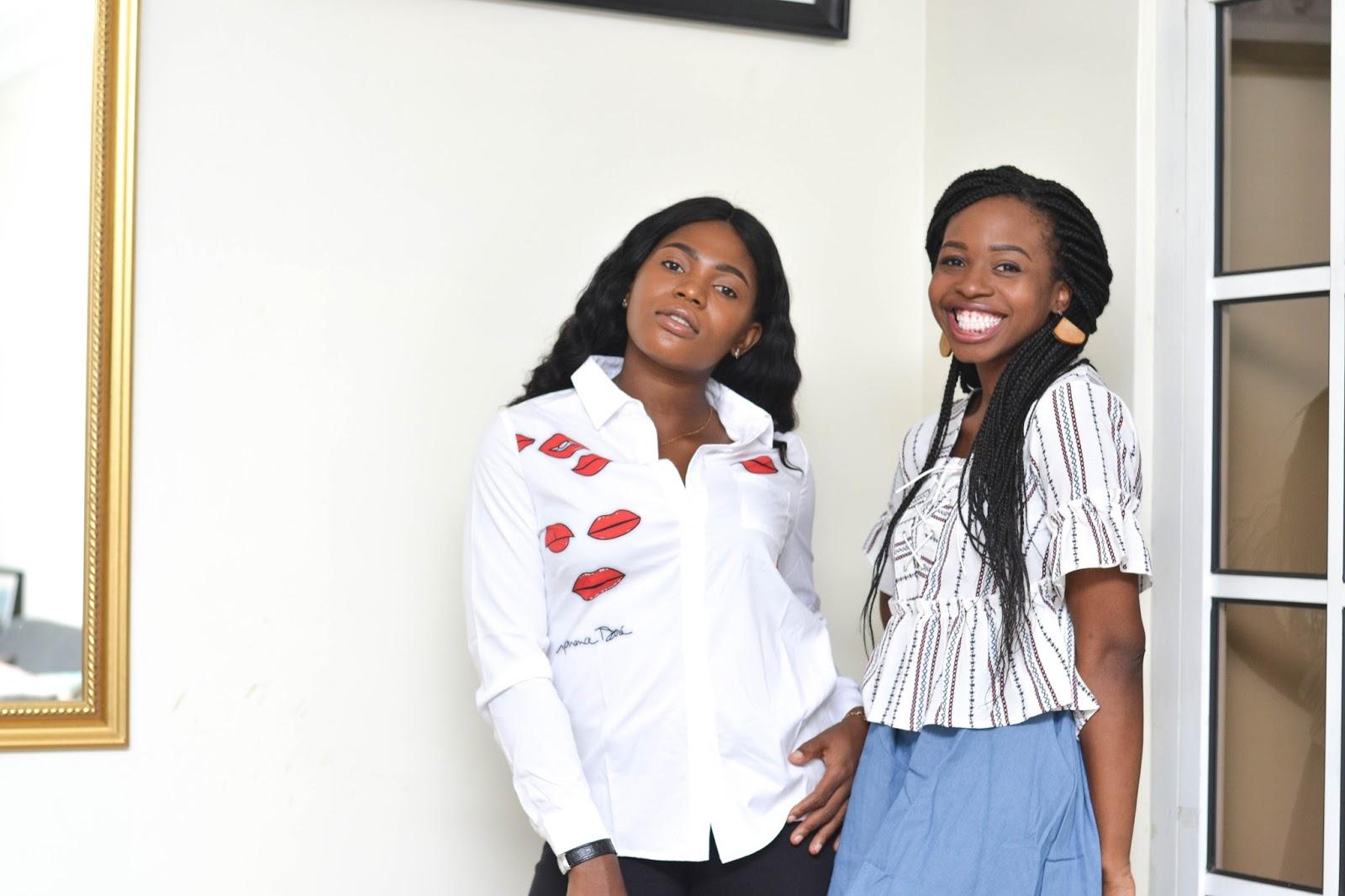 Romwe denim skirt and lip print shirt