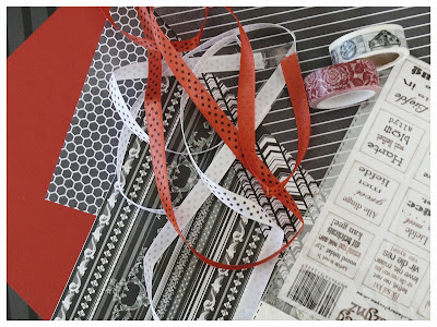 Black white and red inspiration for scrapbook. Paper. Stickers. Ribbon. Washi Tape. Yana Fourie. Eccentric Eclectic Studio