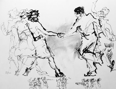 ink drawing of man and woman jive dancing with lighter drawings of earlier poses