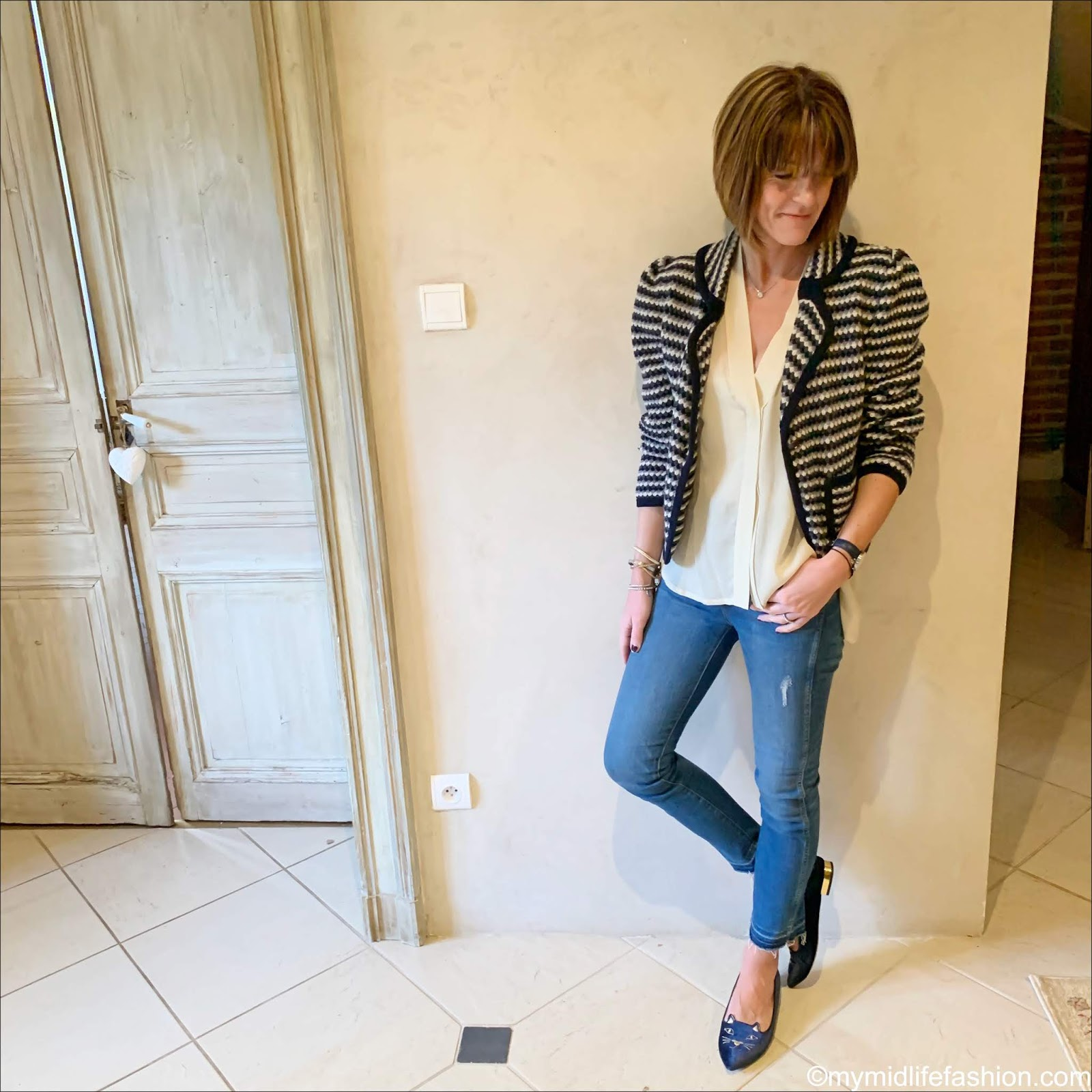 my midlife fashion, see by Chloe knitted jacket, Isabel Marant blouse, j crew skinny jeans, Charlotte Olympia kitty flats
