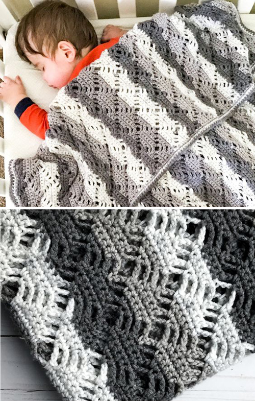 Crochet Diamond Lace Baby Blanket - Free Pattern