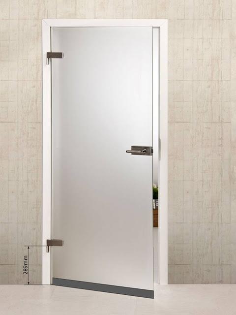 Glass door with darkened part