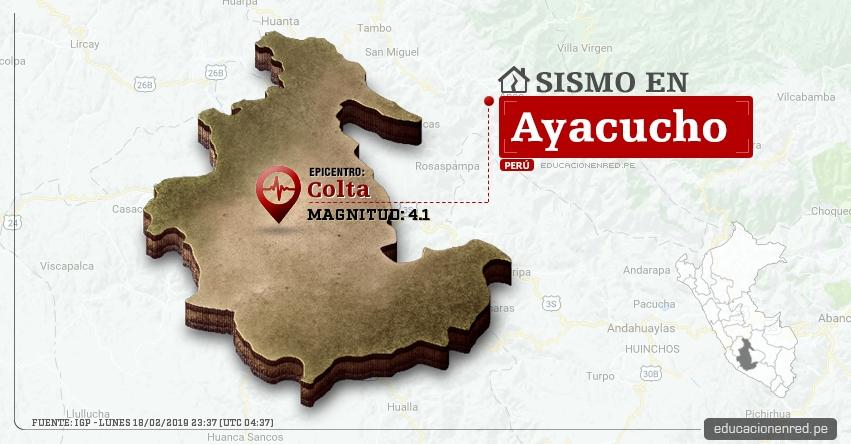 Temblor en Ayacucho de Magnitud 4.1 (Hoy Lunes 18 Febrero 2019) Sismo Epicentro Colta - Páucar del Sara Sara - IGP - www.igp.gob.pe