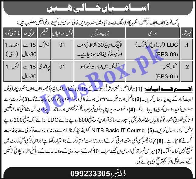 Pak Army FF Regimental Center Record Wing Abbottabad Jobs 2021