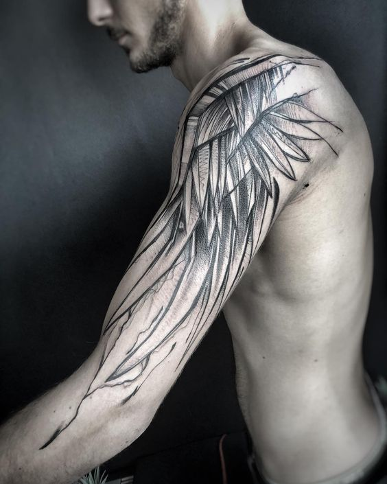 Wing Tattoo on Shoulder