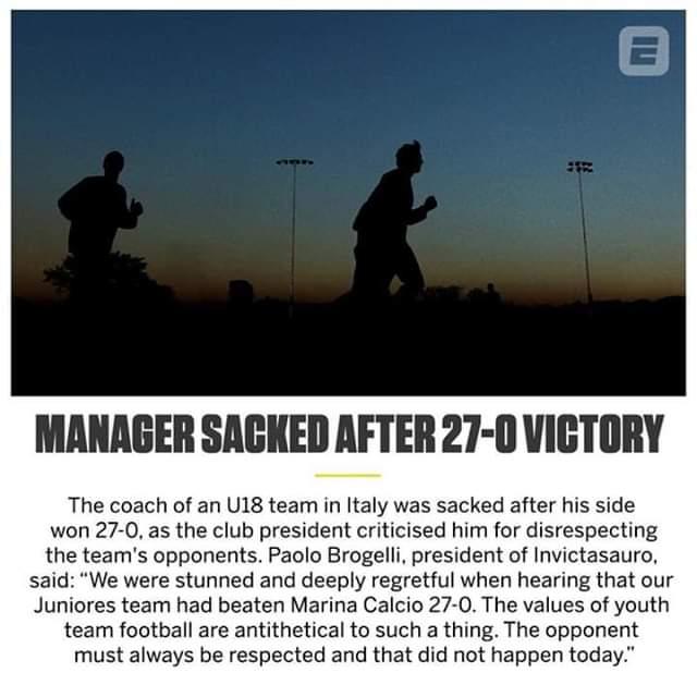 Italian Side Sack Coach after 27-0 Win