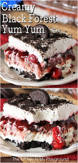 Creamy No-Bake Black Forest Yum Yum ~ Two thick creamy layers sandwich a layer of cherry pie filling & chocolate fudge pudding, all sitting atop an Oreo crumb crust. Seriously, with its creamy cherry & chocolate combination, what's not to love about this Black Forest version of this classic Southern dessert?  www.thekitchenismyplayground.com