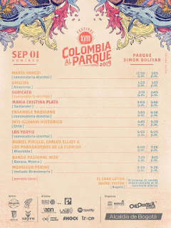 Programación XVIII Festival COLOMBIA AL PARQUE   2019
