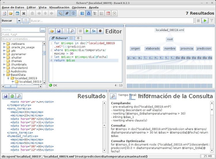 BaseX en ejecución