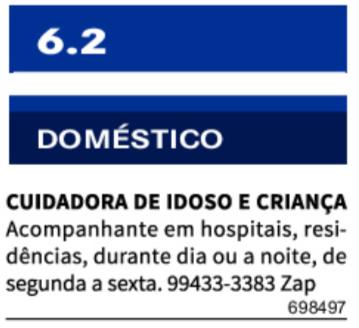 CUIDADORA DE IDOSO E CRIANÇA
