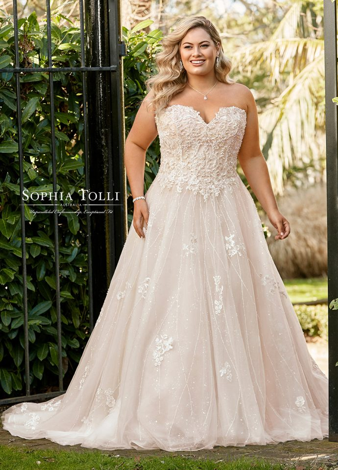 ef7c49cf90a Gearing up concept of fairy tale princess Cinderella bridal ball gowns  these two gorgeous Sophia Tolli for both standard-size brides and plus size.
