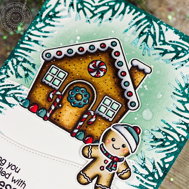 Sunny Studio Stamps: Christmas Garland Frame Dies Jolly Gingerbread Christmas Card by Rachel Alvarado