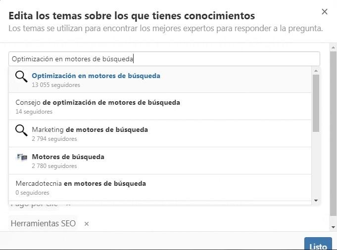 Edita los temas sobre los que tienes conocimiento en Quora