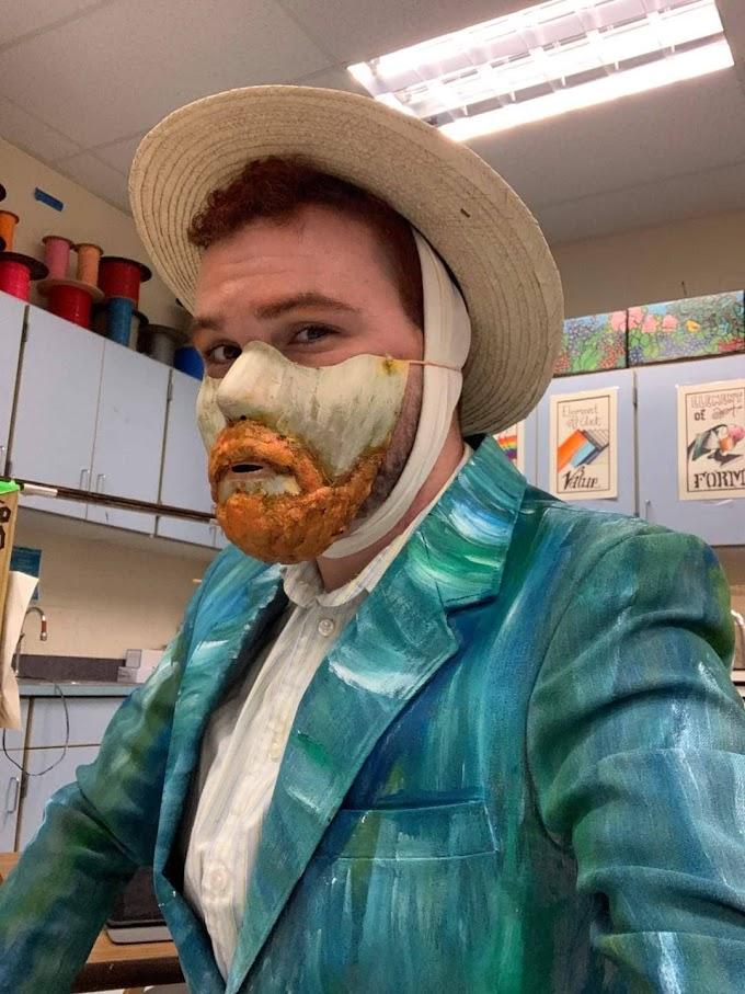 小学校の美術の先生の感染予防も考慮した画家のヴィンセント・ヴァン・ゴッホの自画像の仮装‼️