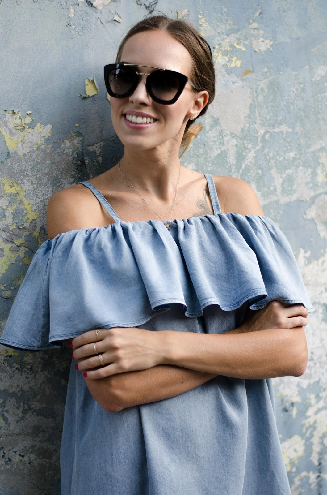 denim ruffle off shoulder dress