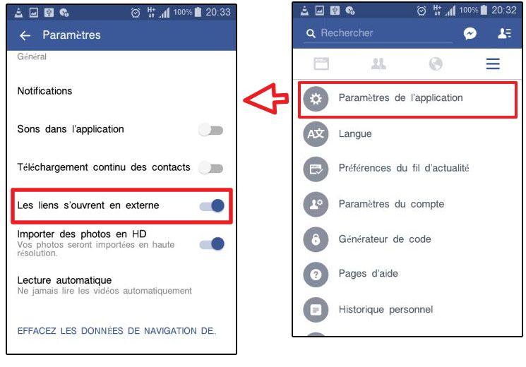فتح روابط المواقع خارج تطبيق الفيسبوك
