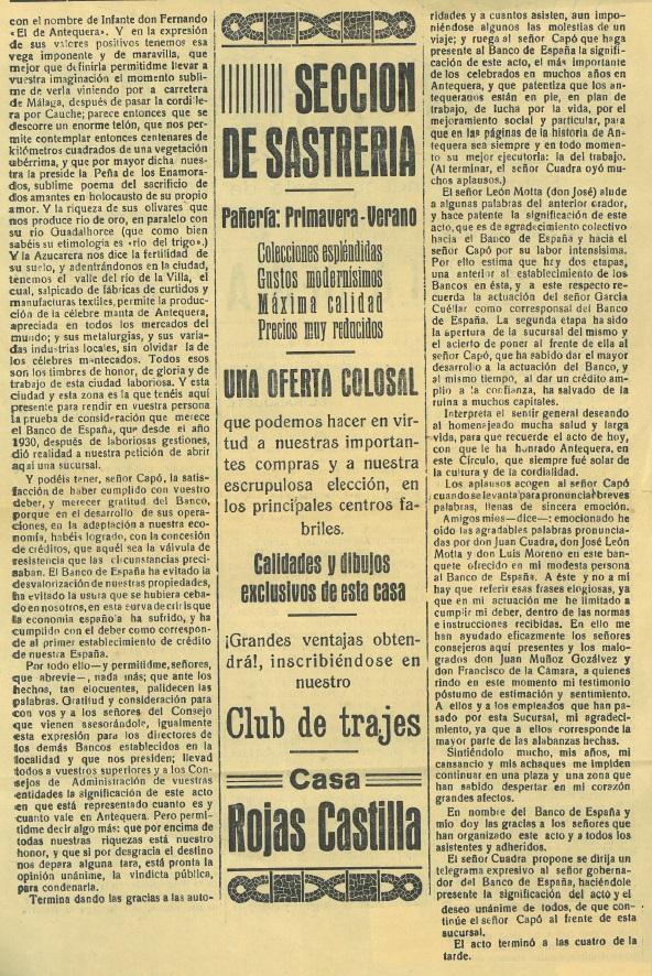 Homenaje a Juan Capó en Antequera en 1935, el Sol de Antequera del 23 de junio de 1935
