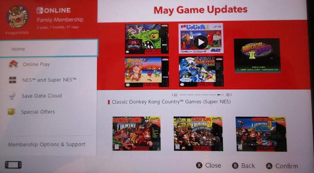 Nintendo Switch Online portal hub May 2021 games Donkey Kong Country headline