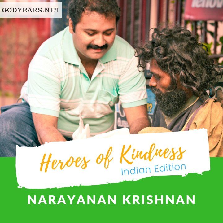 Till 2016, over 2.25 million meals have been served for free to the destitute by Narayanan Krishnan.