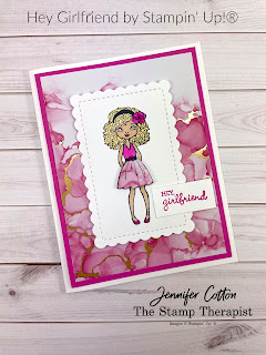 This card uses Stampin' Up!®'s Hey Girlfriend stamp set.  Available through June 30, 2021 or while supplies last.  I used Stampin' Blends to color the girl.  I also used the Expressions in Ink designer series paper.  The dies are Scalloped Contour Dies.  Link to video and measurements on blog.  #StampinUp #StampTherapist #HeyGirlfriend