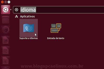 "Pesquise por ""idioma"" na Dash do Ubuntu"
