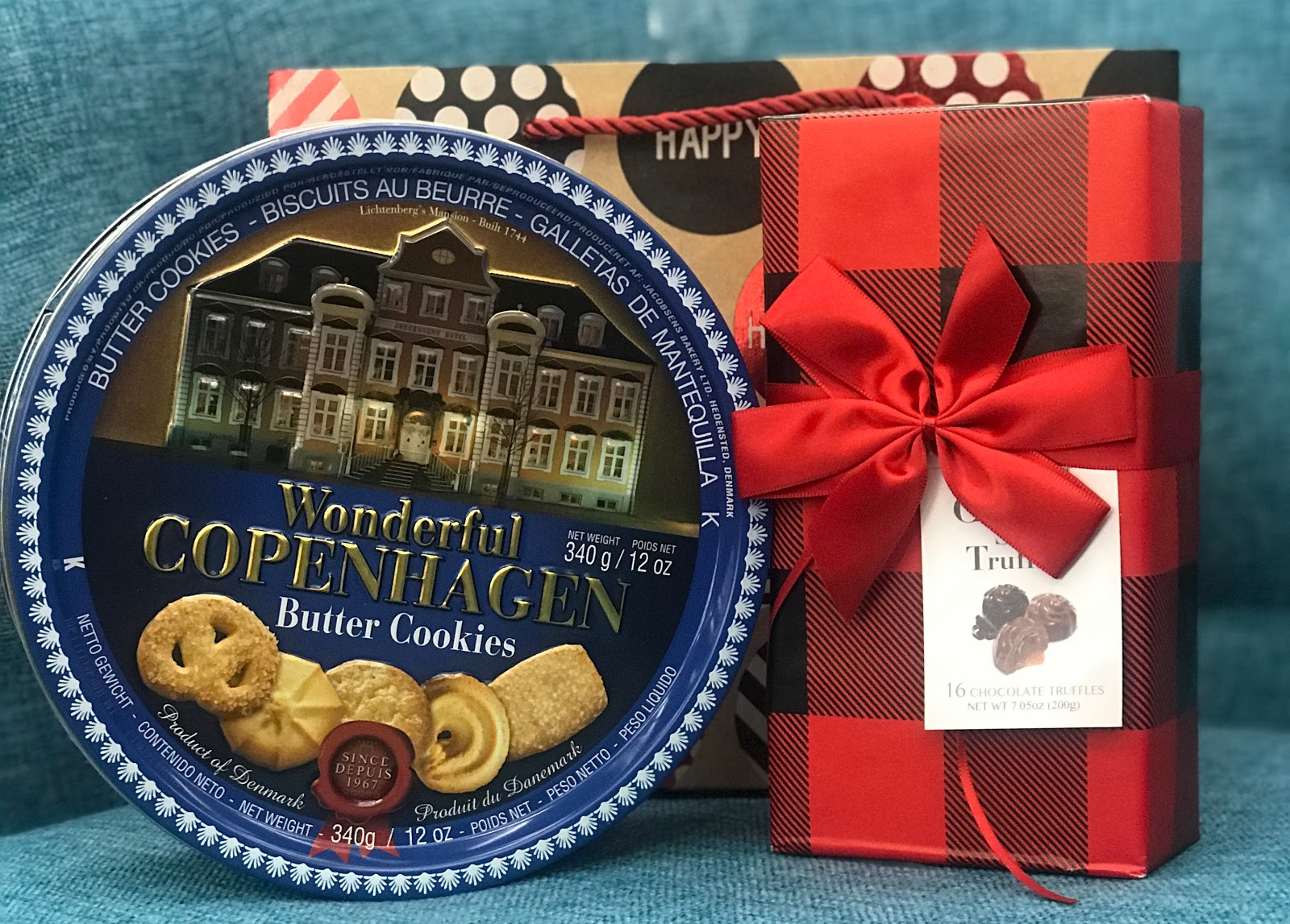 Gift giving ideas: a can of butter cookies, and truffles: Morning Babbles