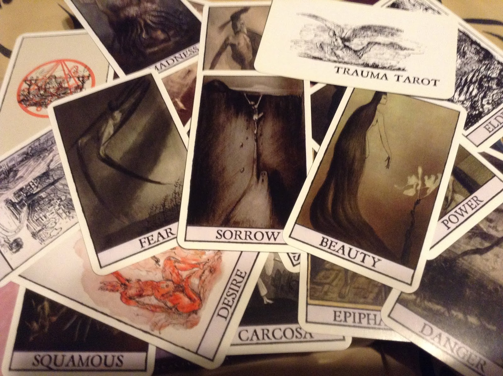 the trauma tarot is the official divination deck of the first united church of cthulhu draw a card that is what is weighing on your subconscious mind