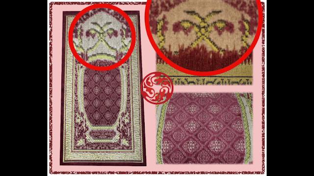 hidden shaitani evil symbol on prayer mat hindi