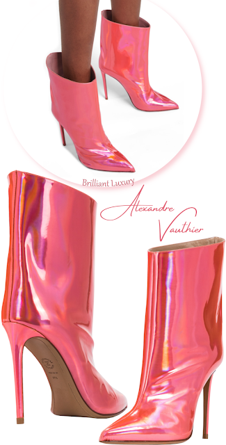 Alexandre Vauthier Alex Low shiny coral pink metallic ankle boots #brilliantluxury