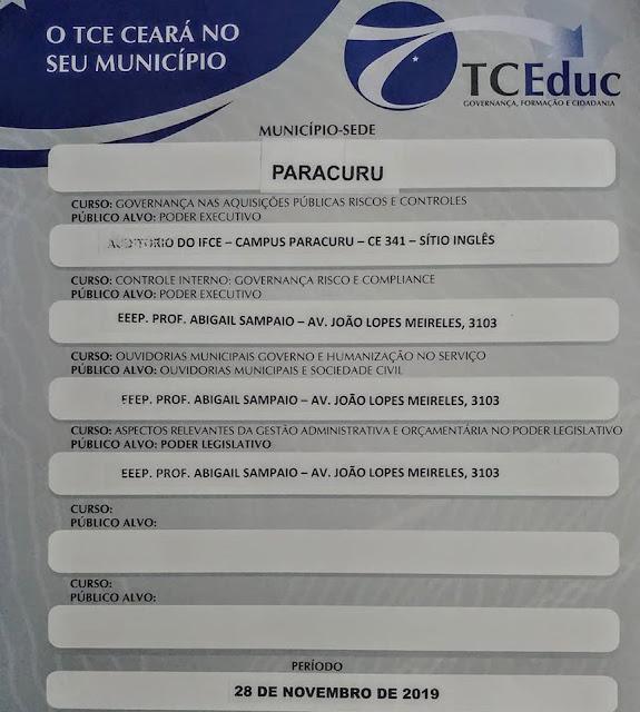 Vele do Curu: Tribunal de Contas do Estado realiza capacitação para gestores e sociedade civil em Paracuru