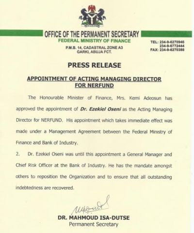 Min of finance approves the appointment of ezekiel oseni as the ag min of finance approves the appointment of ezekiel oseni as the ag md of nerfund altavistaventures Gallery
