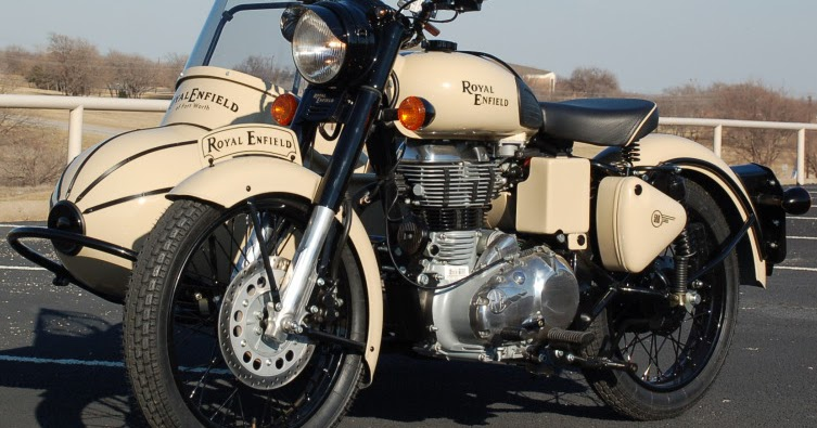 Royal Enfield Motorcycles: Custom color looks vintage on Royal Enfield and sidecar