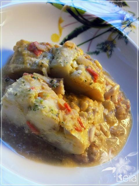 Bacalao con pasas y piñones - La nueva cocina de Leila