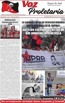 Editorial Voz Proletaria N° 115. Julio 2018