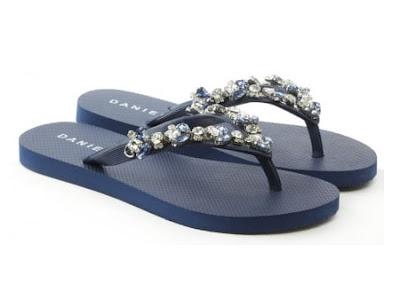 Daniel crystal toe navy flip flops