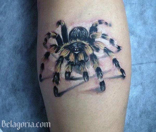 vemos el tatuaje de una tarántula para mujer