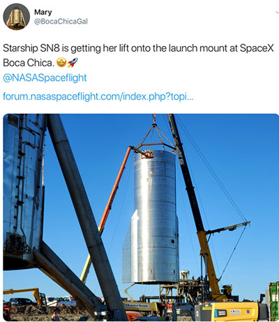 Starship prototype SN8 is being lifted onto the launch pad (Source: Mary, @BocaChicaGal)