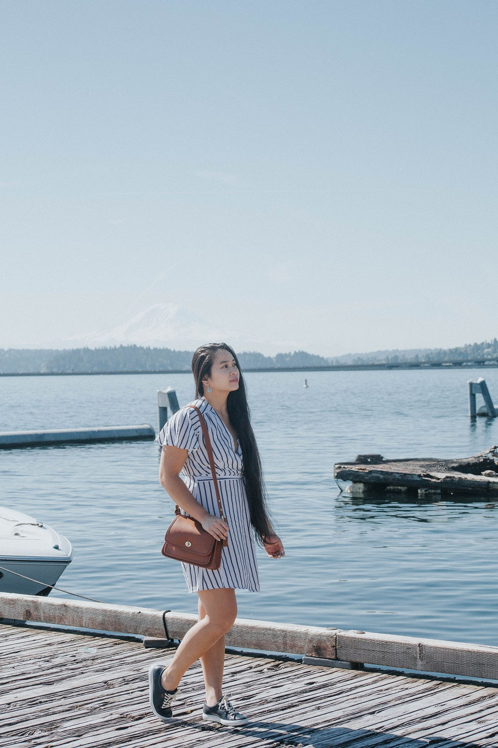 ootd nautical vibes dress marshalls seattle sneakers ecco