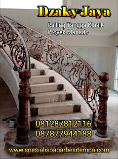 Contoh model railing tangga besi tempa terbaru yang dipasang di Manado oleh Dzaky Jaya